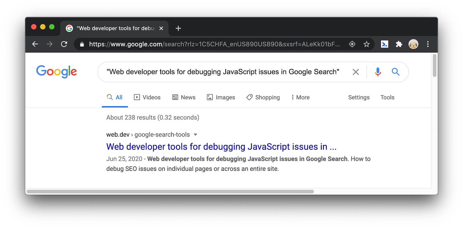An example of a description showing up in a search engine result page.