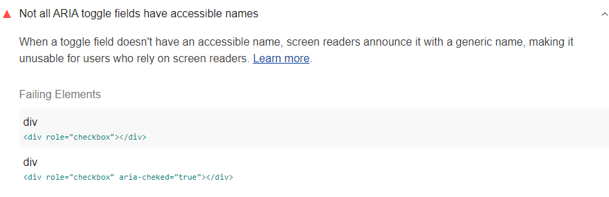 Lighthouse audit showing custom toggle elements without accessible names