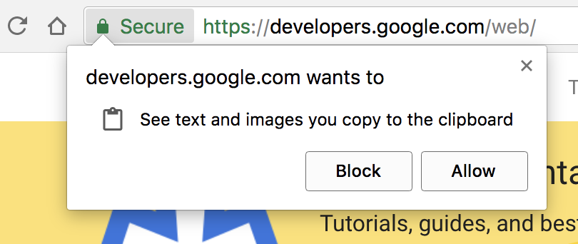 Browser prompt asking the user for the clipboard permission.