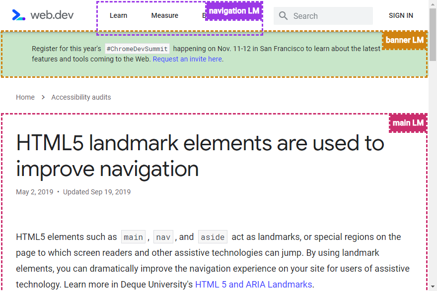 Screenshot of web.dev with landmarks highlighted by the Accessibility Insights extension