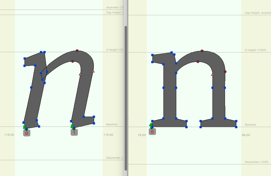 Example of the Weight Axes for the typeface Amstelvar