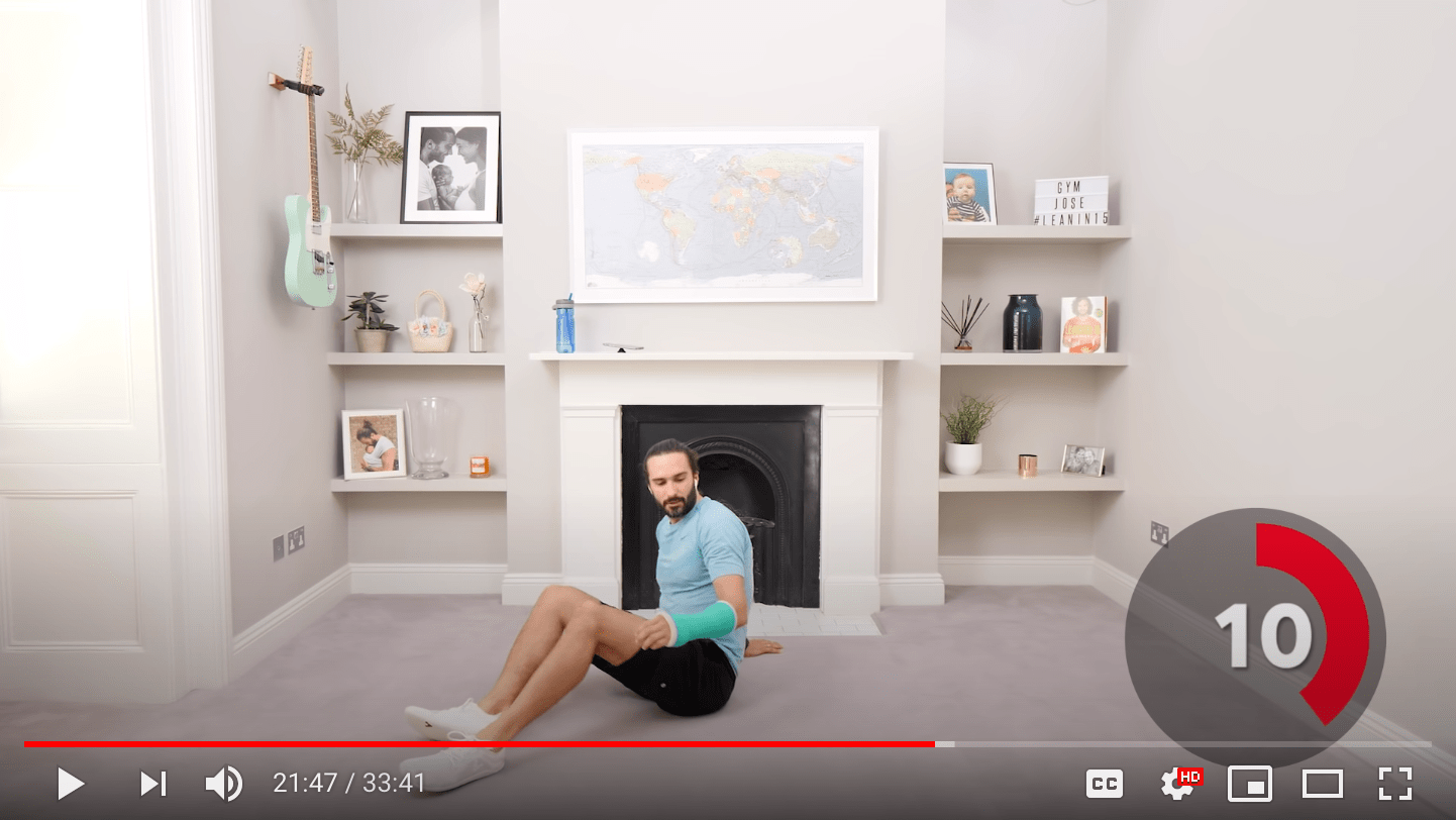 HIIT training online session with red low intensity timer.