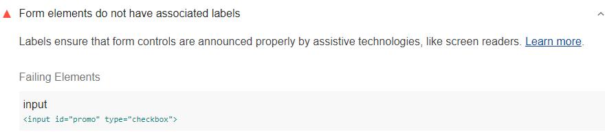 Lighthouse audit showing form elements do not have associated labels