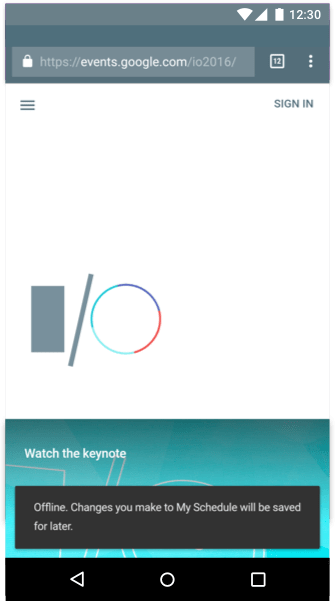 The I/O 2016 app informing the user when a change in state occurs.