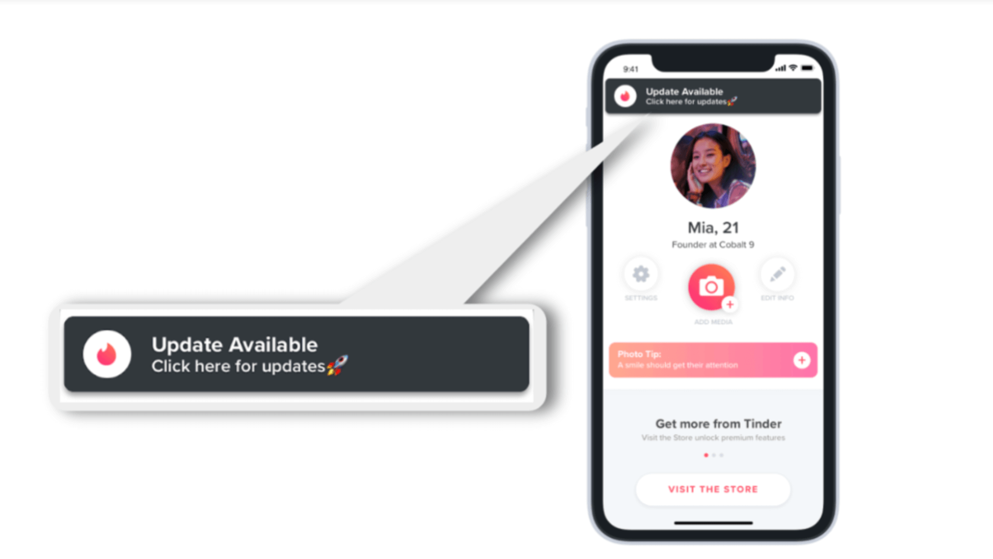 A screenshot of Tinder's webapp 'Update Available' functionality.