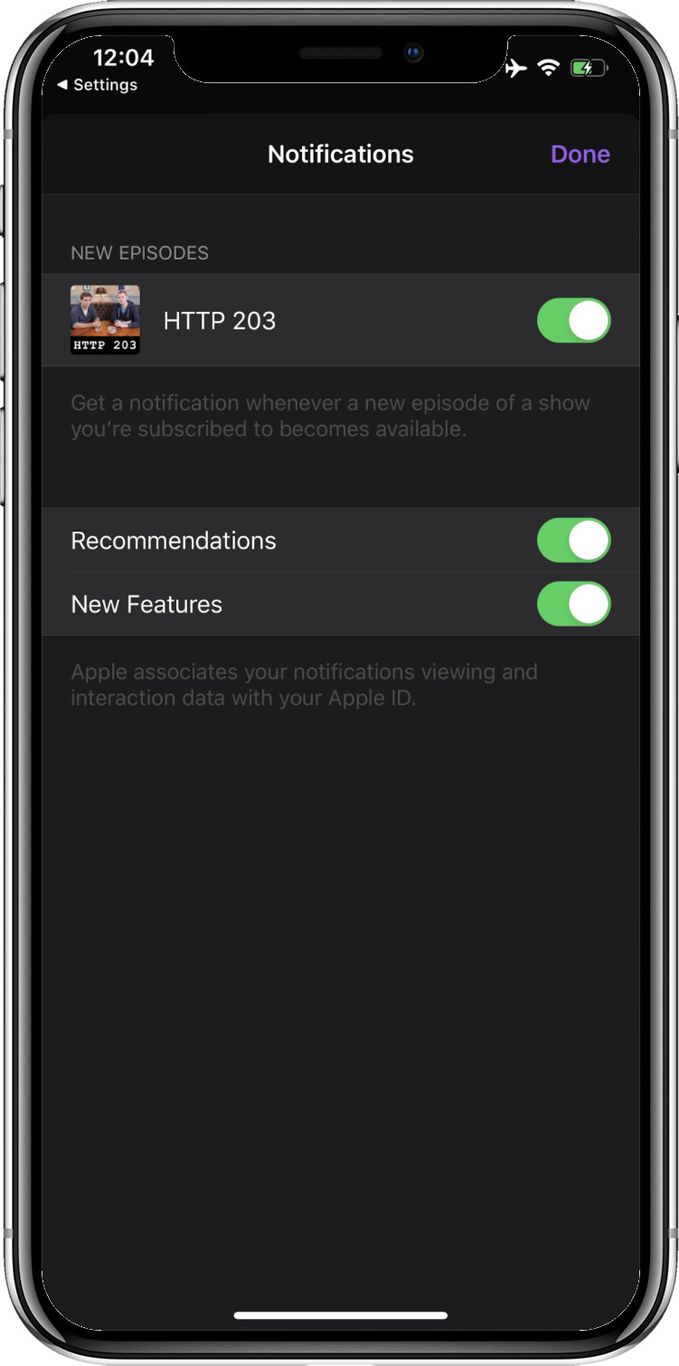 iOS Podcasts app in the 'Notifications' settings screen showing the 'New Episodes' notifications toggle activated.