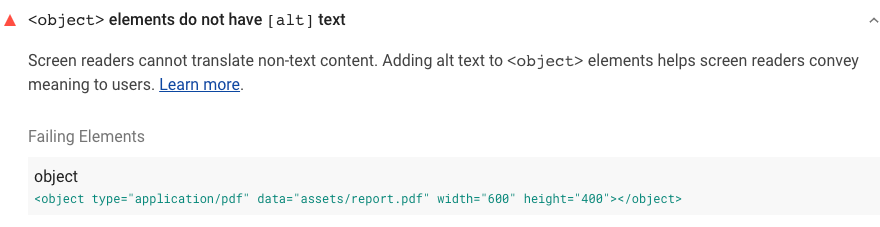 Lighthouse audit showing <object> elements do not have alternative text