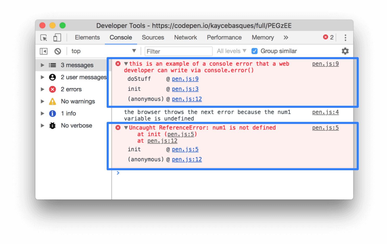 An example of errors in the Chrome DevTools Console