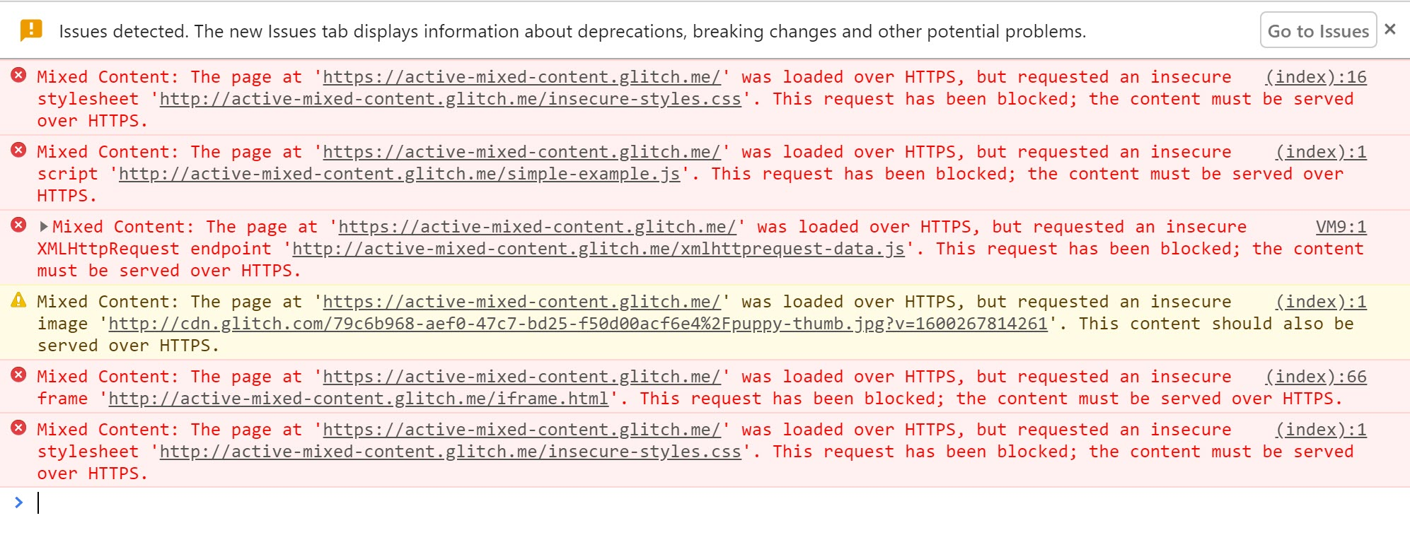 Chrome DevTools showing the warnings displayed when active mixed content is blocked