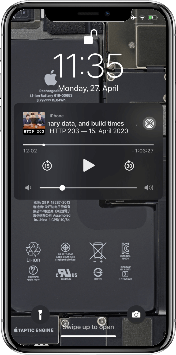 iOS media playback widget on the lock screen showing a podcast episode with rich metadata.