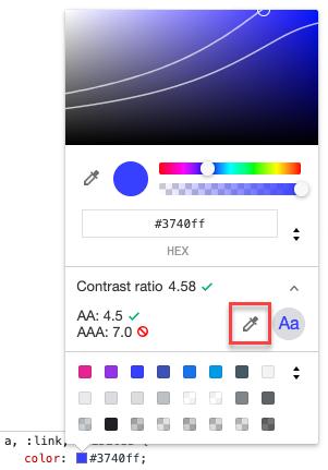 Screenshot of Chrome DevTools background color picker