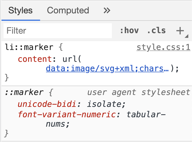DevTools open and showing styles from the user agent and the user styles