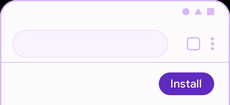 Screenshot of simple install button in PWA.