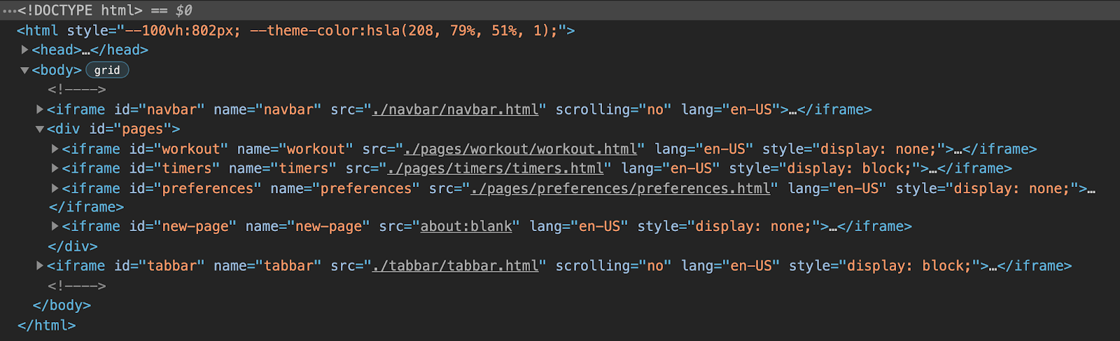 Chrome DevTools view of the HTML structure of the app showing that it consists of six iframes: one for the navbar, one for the tabbar, and three grouped ones for each page of the app, with a final placeholder iframe for dynamic pages.
