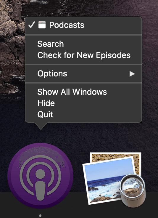 Podcasts app icon context menu showing the 'Search' and 'Check for New Episodes' options.