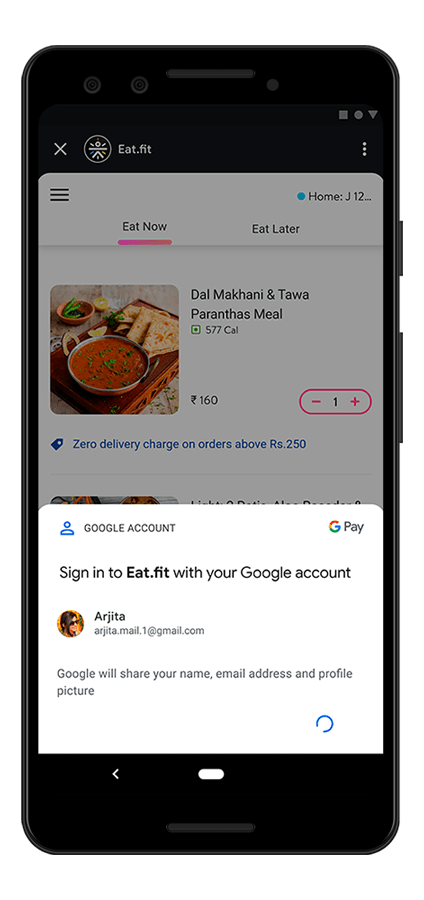 The Eat.fit mini app running in the Google Pay super app showing the sign-in bottom sheet.
