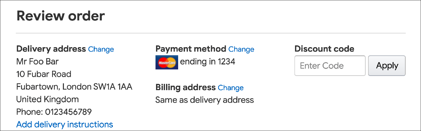 Example checkout page showing link to change billing address.