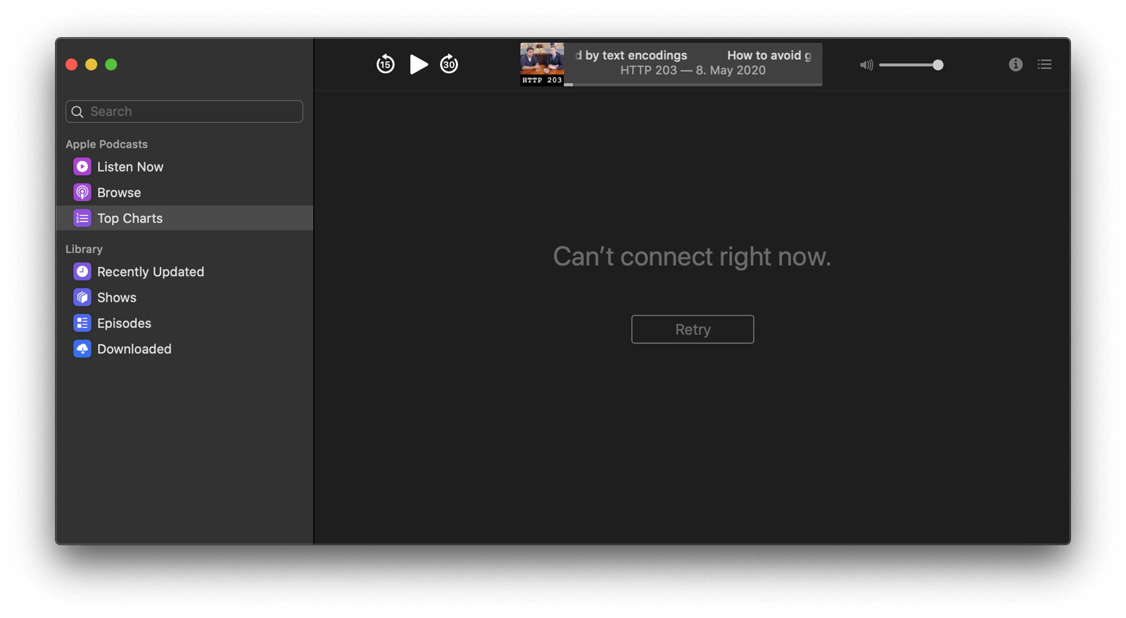 The Podcasts app showing a 'Cannot connect right now.' info message when no network connection is available.
