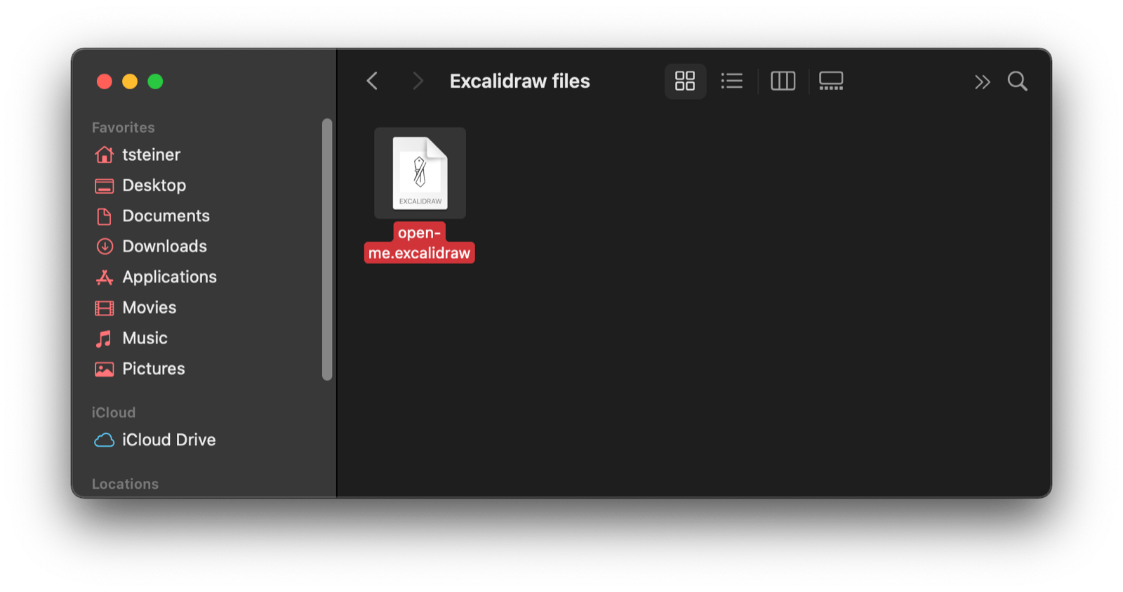 The macOS finder window with an Excalidraw file.