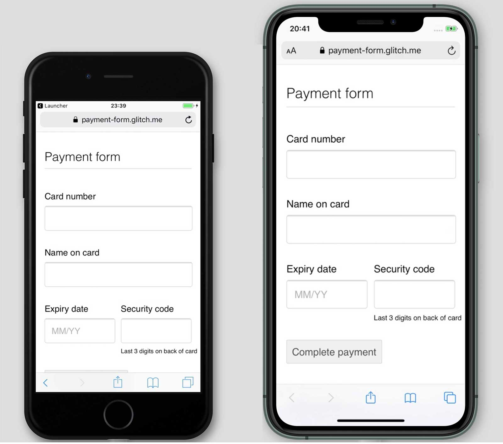 Screenshots of a payment form, payment-form.glitch.me, on iPhone 7 and 11. The Complete Payment button is shown on iPhone 11 but not 7