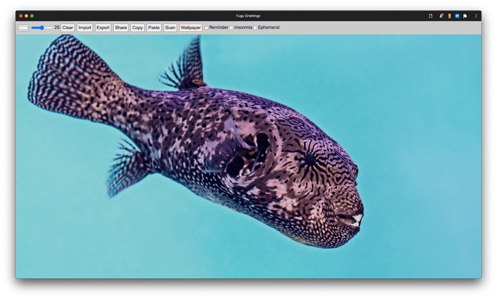 Fugu Greetings app with a new greeting card image of the day.