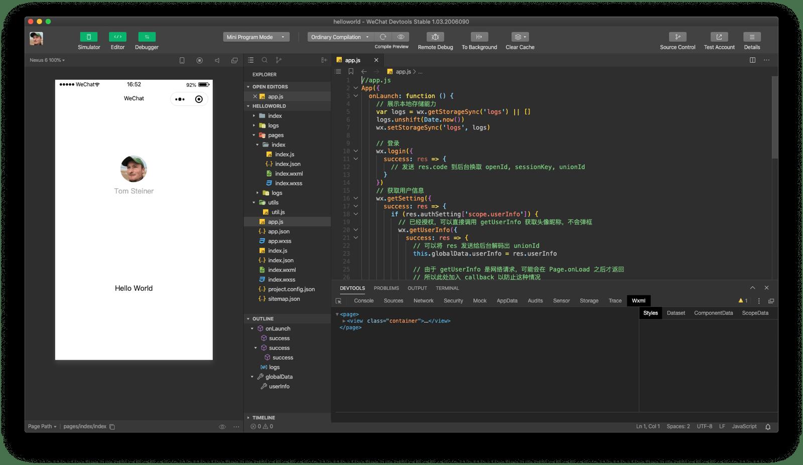 WeChat DevTools application window showing simulator, code editor, and debugger.