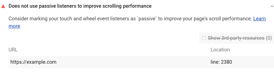 Lighthouse audit shows page doesn't use passive event listeners to improve scrolling performance