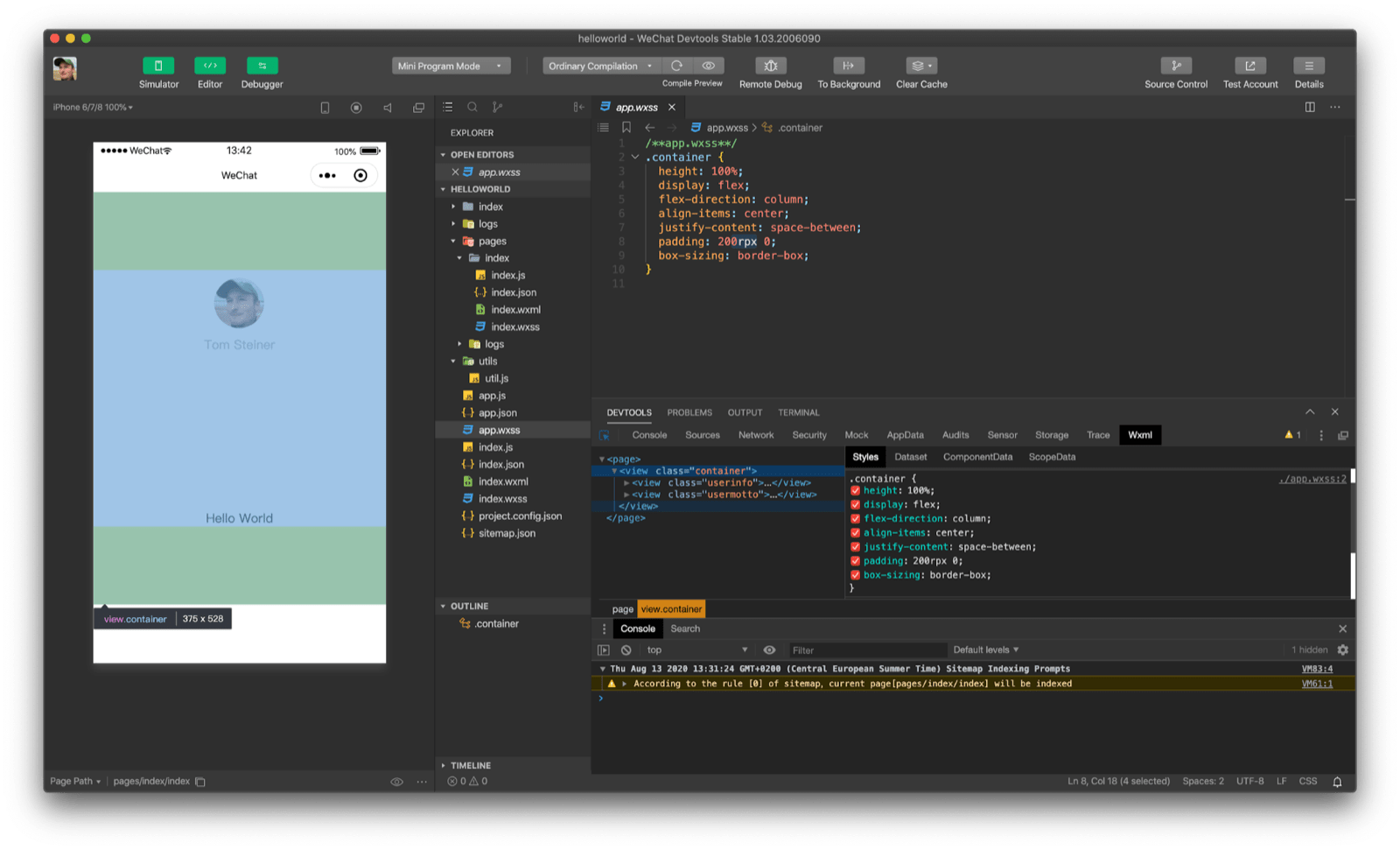 Inspecting a view with a specified top and bottom padding of `200rpx` in WeChat DevTools.
