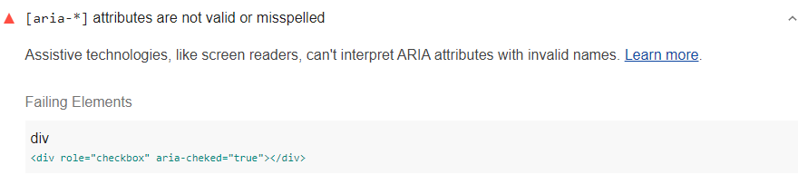 Lighthouse audit showing ARIA attribute has invalid value