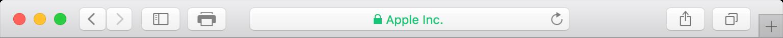 The Safari browser's integrated tile bar and toolbar.