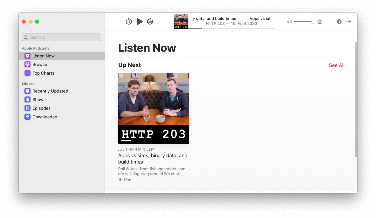 The Podcasts app in light mode.