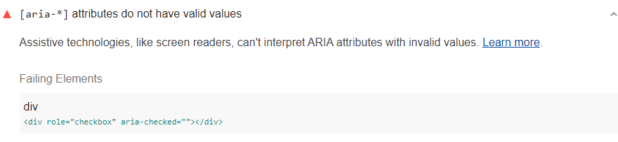 Lighthouse audit showing aria-checked without the value 'true'
