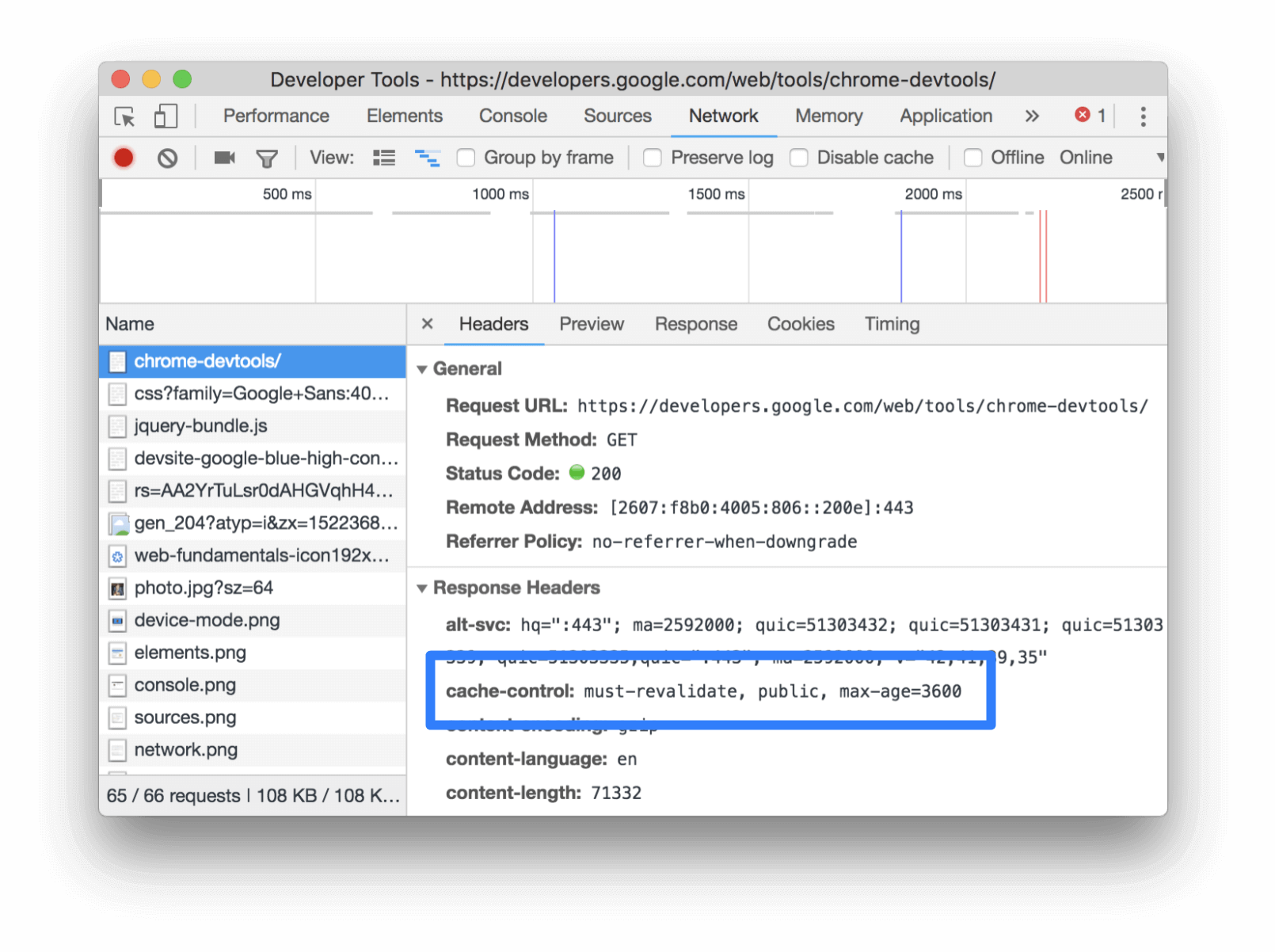 Inspecting the Cache-Control header via the Headers tab