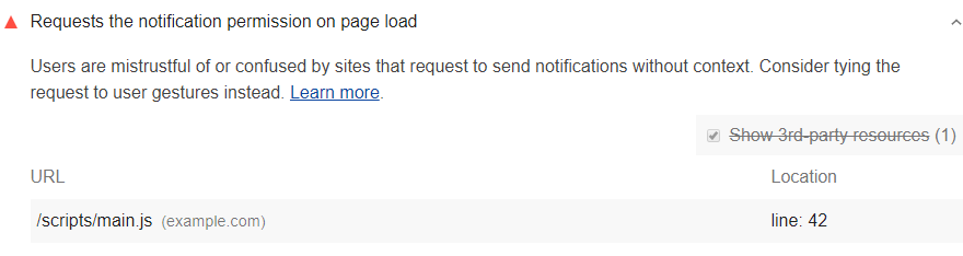 Lighthouse audit shows page requests notification permissions on load