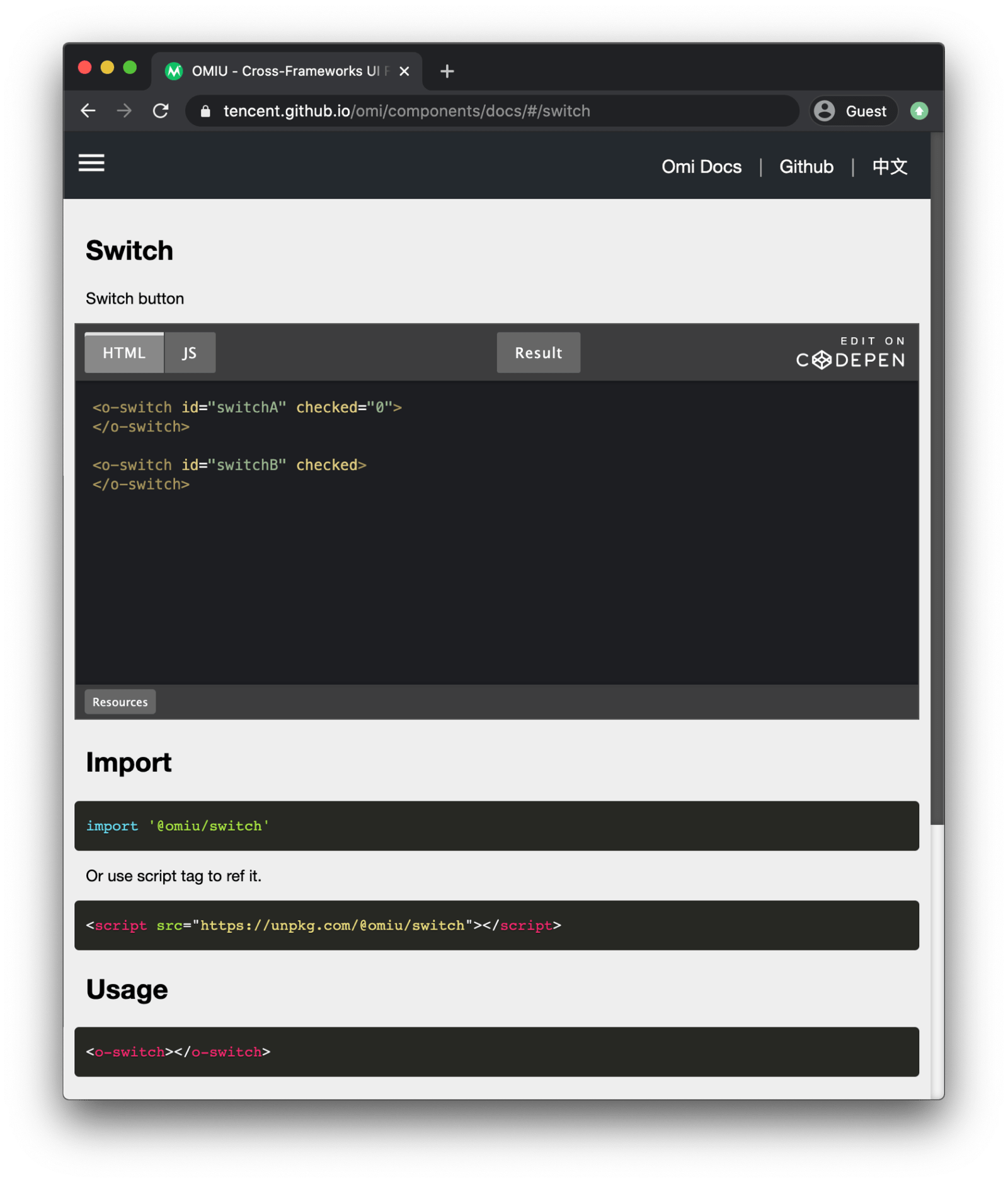 Demo of the Omiu framework showing form-related components, namely switches.