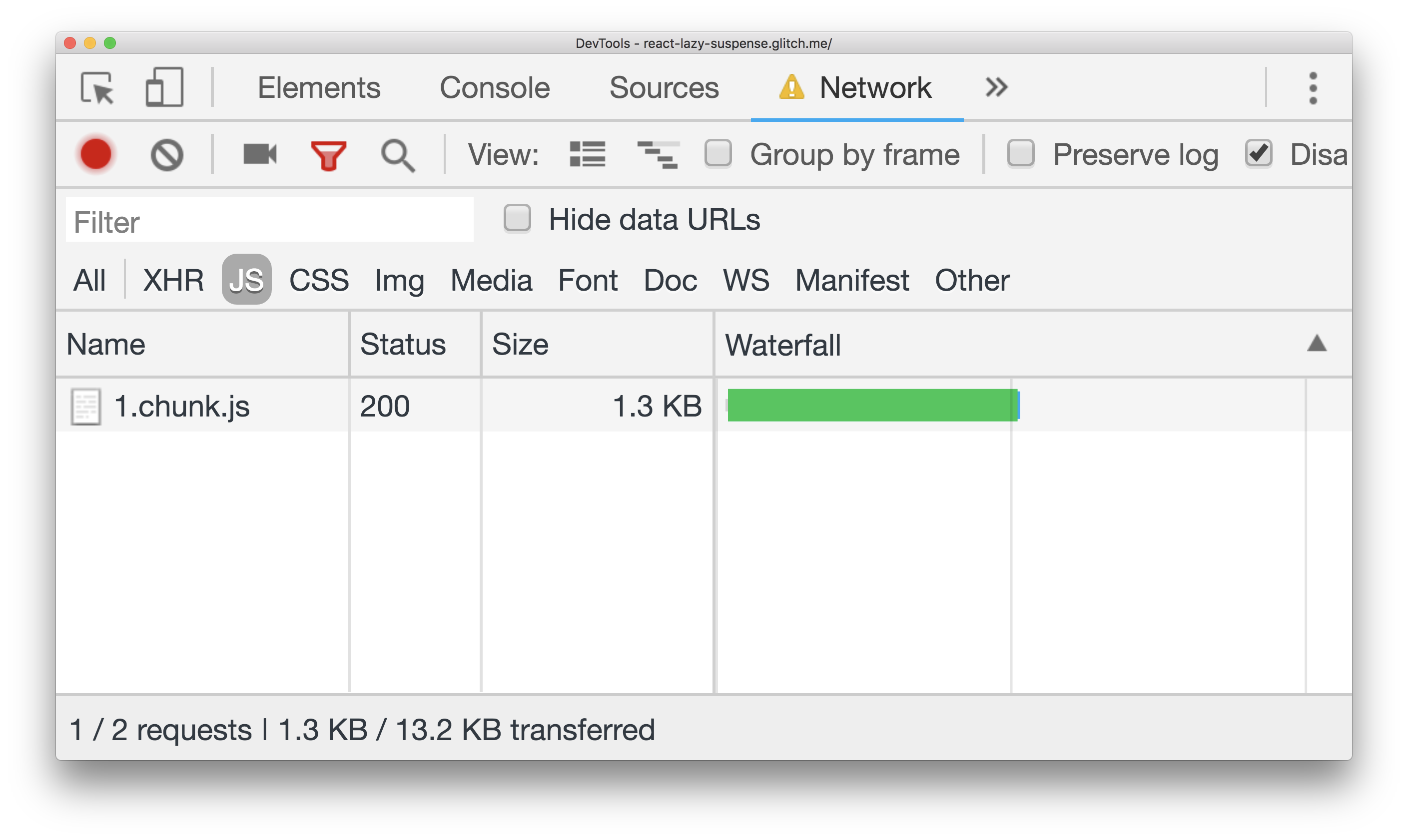 DevTools network panel showing one chunk.js file being downloaded
