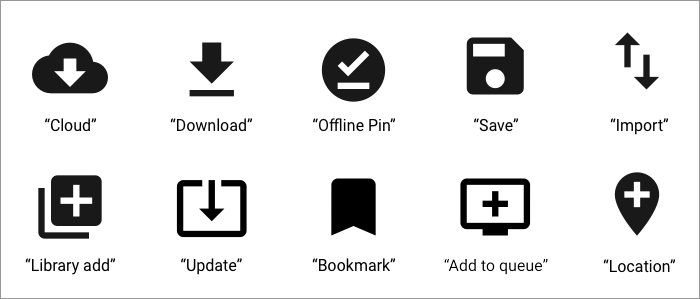 Various icon examples that convey offline