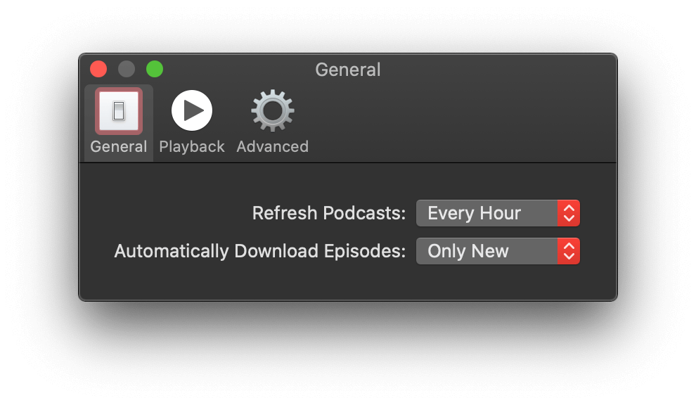 The Podcasts app's settings menu in the 'General' section where the 'Refresh Podcasts' option is set to 'Every Hour'.
