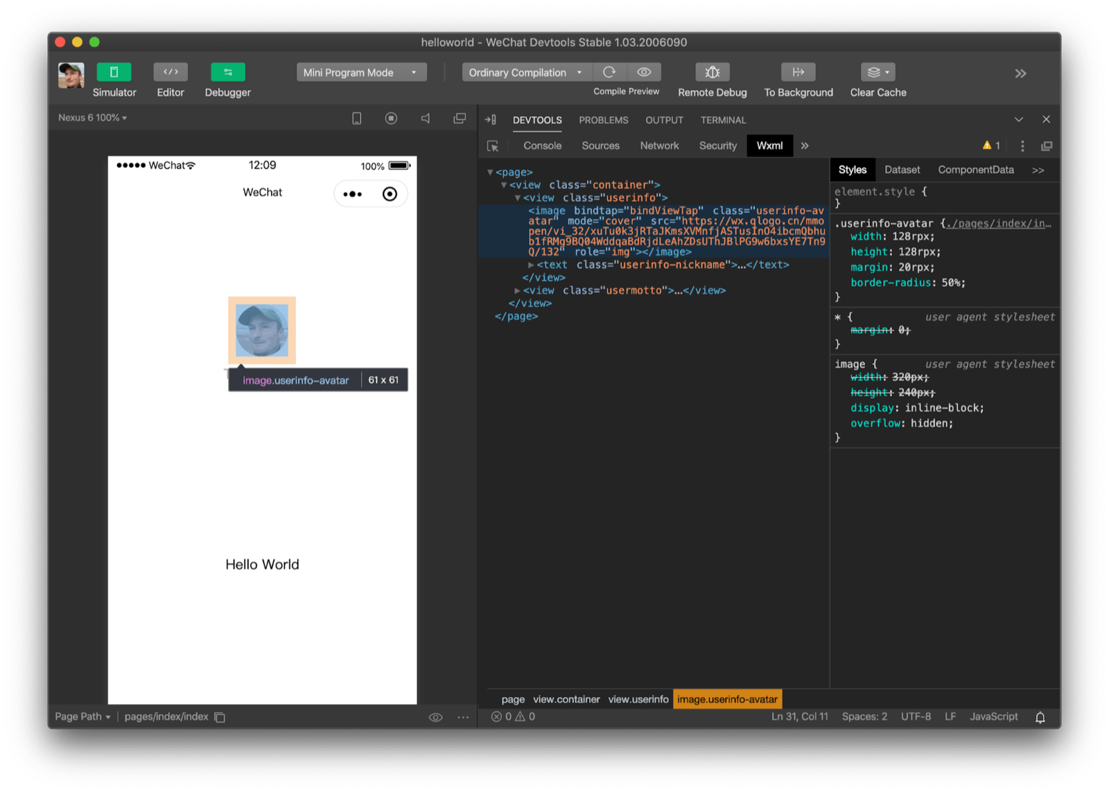 Inspecting an image with WeChat DevTools' 'Wxml' panel. It shows that the tag in use is an `image` tag.