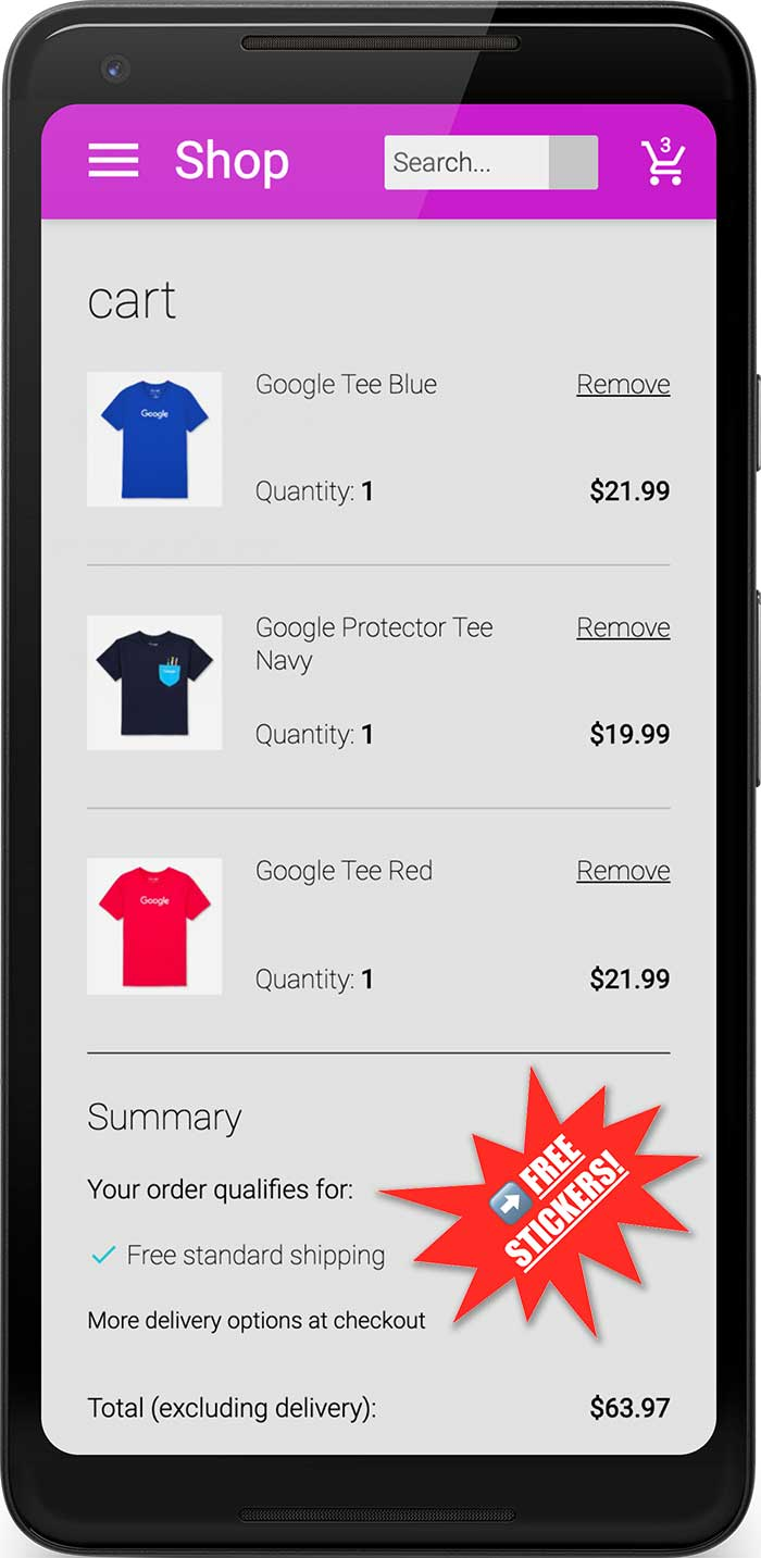 Screenshot of checkout page on mobile showing distracting promotion for FREE STICKERS.