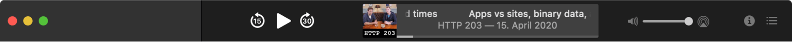 The Podcasts app's customized split customized title bar.