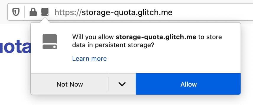 A popup shown by Firefox when a site requests persistent storage.