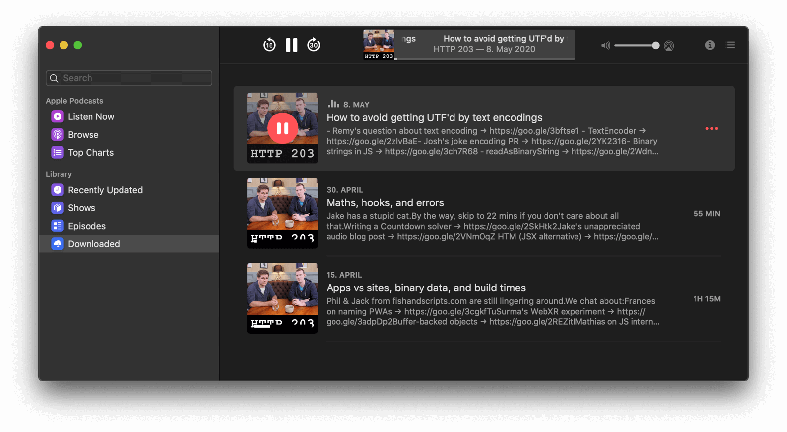 Podcasts app with a downloaded episode of a podcast playing.