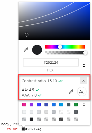 Screenshot of Chrome DevTools color picker with color contrast information highlighted