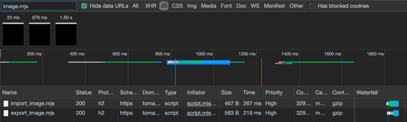 Chrome DevTools showing the modern files getting loaded.