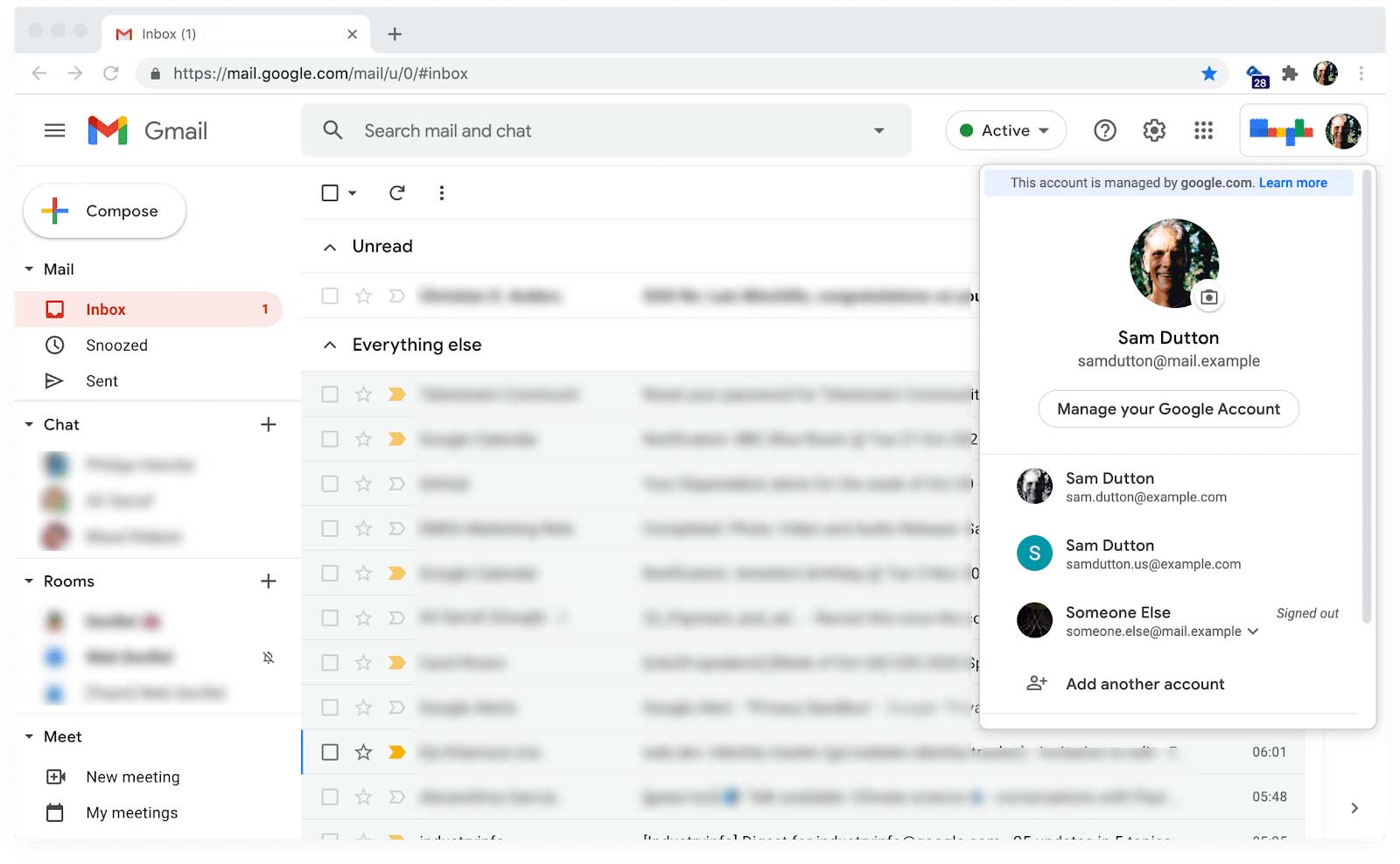 Gmail, showing account switching