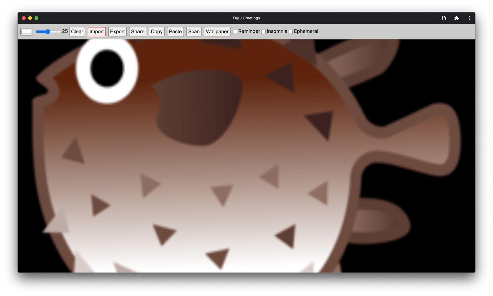 Fugu Greetings app now with an imported image.