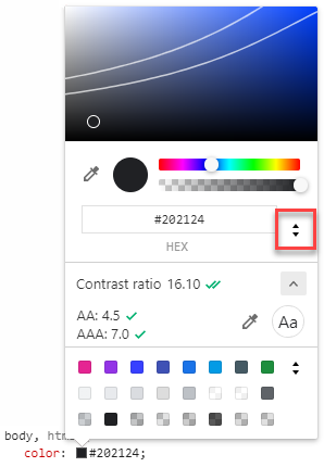 Screenshot of Chrome DevTools color picker with the color format toggle highlighted