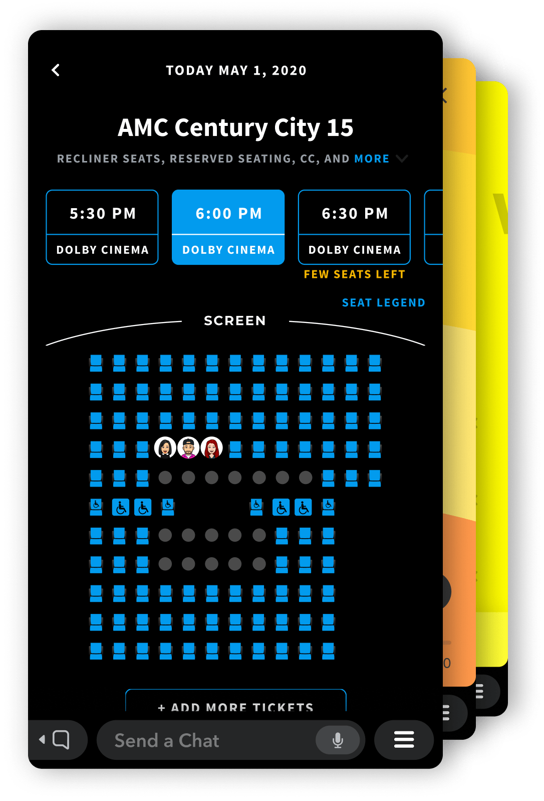 The Atom Tickets mini app running in Snapchat showing three snapchat users reserving their seats in a movie theater.