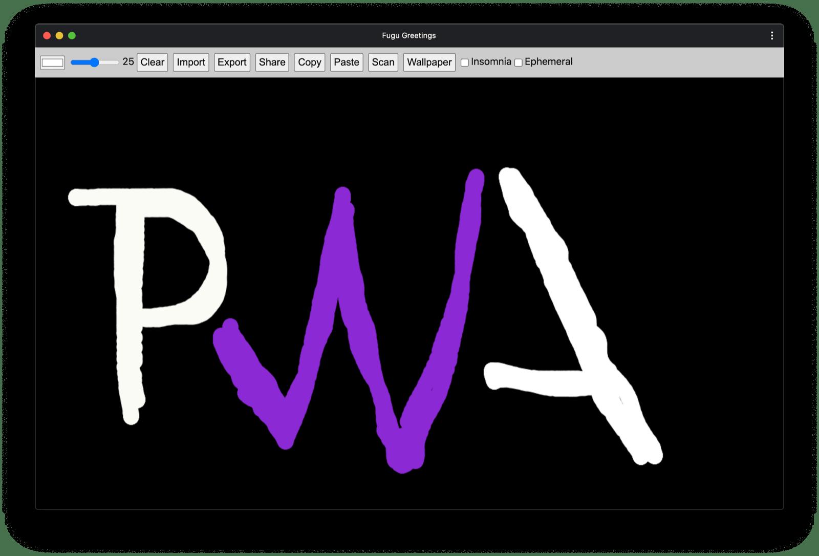 Fugu Greetings PWA with a drawing that resembles the PWA community logo.